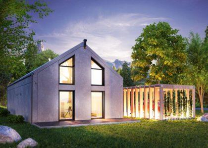 dom modułowy z prefabrykatów betonowych