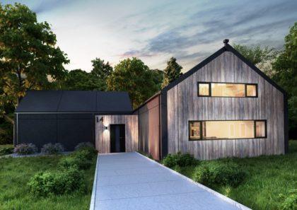 dwustrefowy dom modułowy z prefabrykatów betonowych